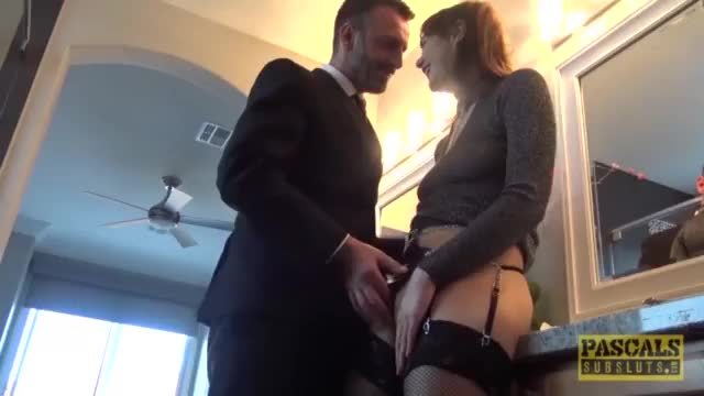 Fancy English whore rammed in pussy and mouth