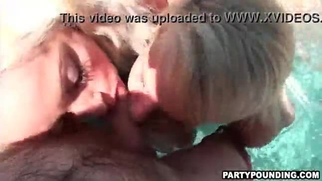 Two Amateur Babes Blowing Guys At A Pool