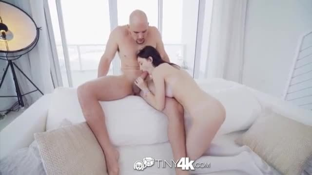 Tiny4K Teen Hailey Little gets her shaved pussy abused by big cock